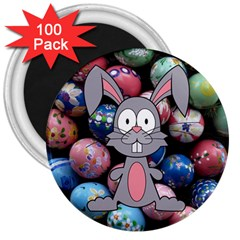 Easter Egg Bunny Treasure 3  Button Magnet (100 pack)