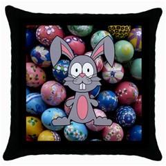 Easter Egg Bunny Treasure Black Throw Pillow Case
