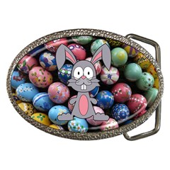Easter Egg Bunny Treasure Belt Buckle (Oval)