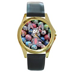 Easter Egg Bunny Treasure Round Leather Watch (Gold Rim)