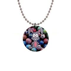 Easter Egg Bunny Treasure Button Necklace