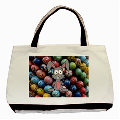 Easter Egg Bunny Treasure Twin Sided Black Tote Bag