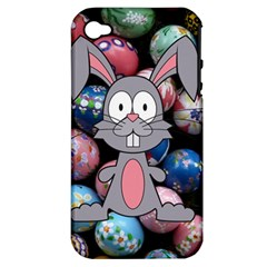 Easter Egg Bunny Treasure Apple Iphone 4/4s Hardshell Case (pc+silicone)
