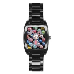 Easter Egg Bunny Treasure Stainless Steel Barrel Watch