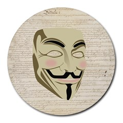 We The Anonymous People 8  Mouse Pad (Round)