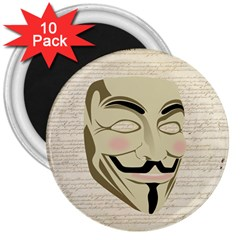We The Anonymous People 3  Button Magnet (10 pack)