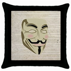 We The Anonymous People Black Throw Pillow Case