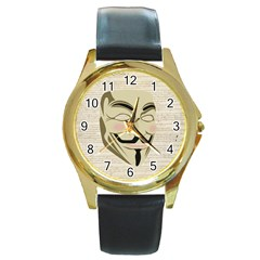 We The Anonymous People Round Leather Watch (Gold Rim)