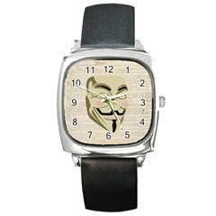We The Anonymous People Square Leather Watch
