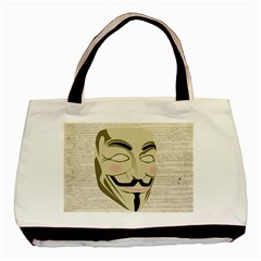 We The Anonymous People Twin Sided Black Tote Bag