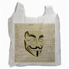 We The Anonymous People White Reusable Bag (Two Sides)