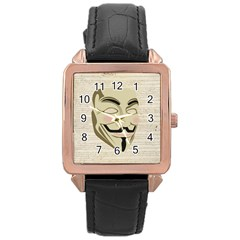 We The Anonymous People Rose Gold Leather Watch