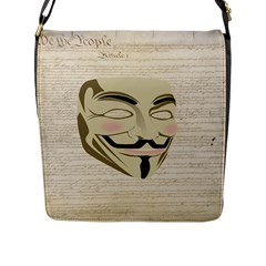 We The Anonymous People Flap Closure Messenger Bag (Large)
