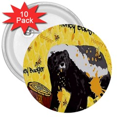 Honeybadgersnack 3  Button (10 pack)