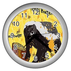 Honeybadgersnack Wall Clock (silver)
