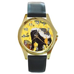 Honeybadgersnack Round Leather Watch (Gold Rim)