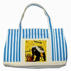 Honeybadgersnack Blue Striped Tote Bag