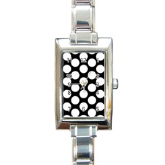 Black And White Polkadot Rectangular Italian Charm Watch