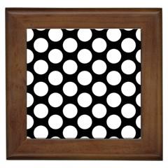 Black And White Polkadot Framed Ceramic Tile
