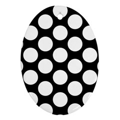 Black And White Polkadot Oval Ornament