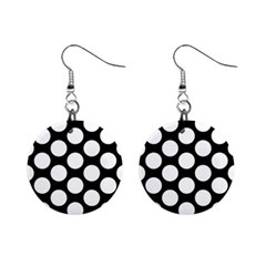Black And White Polkadot Mini Button Earrings