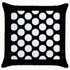 Black And White Polkadot Black Throw Pillow Case