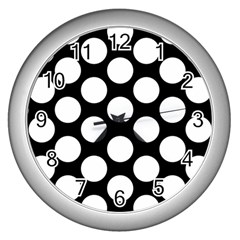 Black And White Polkadot Wall Clock (Silver)