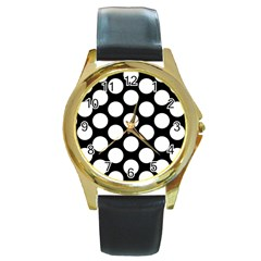 Black And White Polkadot Round Leather Watch (Gold Rim)