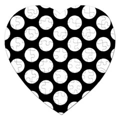 Black And White Polkadot Jigsaw Puzzle (Heart)