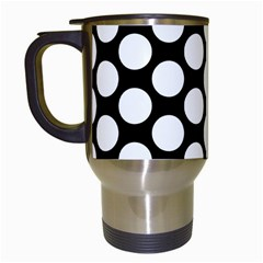 Black And White Polkadot Travel Mug (White)