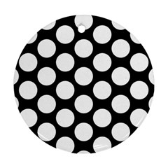 Black And White Polkadot Round Ornament (Two Sides)