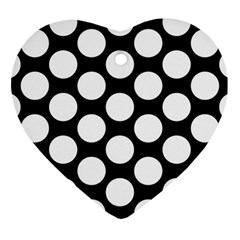 Black And White Polkadot Heart Ornament (two Sides)