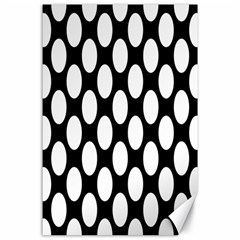 Black And White Polkadot Canvas 24  X 36  (unframed)