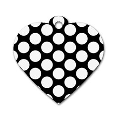 Black And White Polkadot Dog Tag Heart (Two Sided)