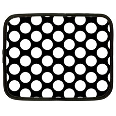 Black And White Polkadot Netbook Sleeve (large)