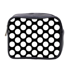 Black And White Polkadot Mini Travel Toiletry Bag (two Sides)