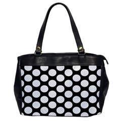 Black And White Polkadot Oversize Office Handbag (one Side)