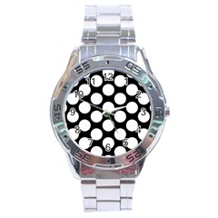 Black And White Polkadot Stainless Steel Watch