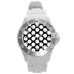 Black And White Polkadot Plastic Sport Watch (Large)
