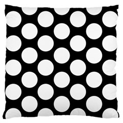 Black And White Polkadot Large Cushion Case (Two Sided)
