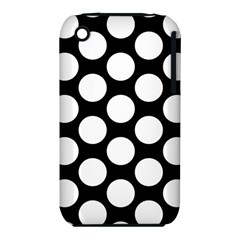 Black And White Polkadot Apple iPhone 3G/3GS Hardshell Case (PC+Silicone)