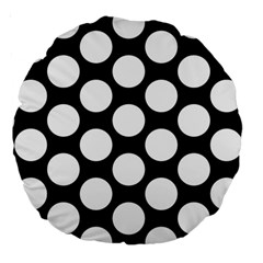 Black And White Polkadot 18  Premium Round Cushion