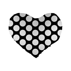 Black And White Polkadot 16  Premium Heart Shape Cushion