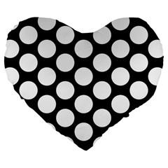 Black And White Polkadot 19  Premium Heart Shape Cushion