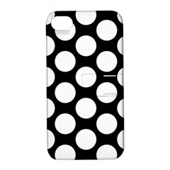 Black And White Polkadot Apple Iphone 4/4s Hardshell Case With Stand