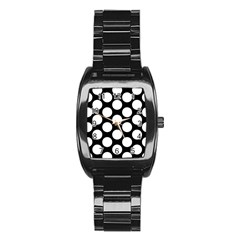 Black And White Polkadot Stainless Steel Barrel Watch