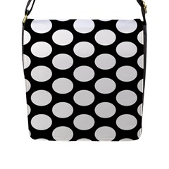 Black And White Polkadot Flap Closure Messenger Bag (Large)