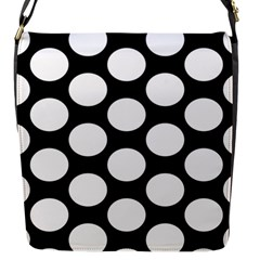 Black And White Polkadot Flap Closure Messenger Bag (Small)