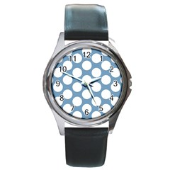Blue Polkadot Round Leather Watch (Silver Rim)