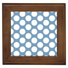 Blue Polkadot Framed Ceramic Tile